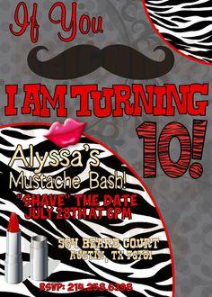 Mustache Girl Birthday Invitation - Cowboy Stache Bash Party Digital File