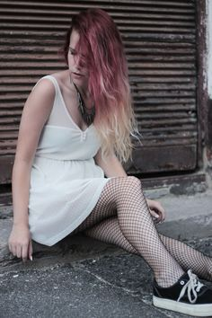 white dress with fishnets // grunge outfit. more on frogoncatwalk.com | IG sofibalogh