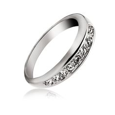 Amazon.com: OUXI Platinum Plated Statement Band Ring Simple Style with Cubic Zirconia Diamond, 5.5: Jewelry,$12.99 Link:https://www.amazon.com/dp/B06XKZ3KBS?m=A2J5YGWO33M4IA&ref_=v_sp_detail_page