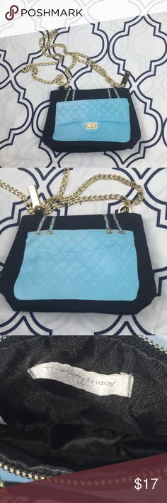 Thursday / Friday bag with Chanel print This bag is a canvas bag with a baby blue Chanel style purse printed on front and back. The T/F brand is known for printing designer style bags on their canvas cross bodies and totes. Gold strap can be detached or doubled or worn long. In like new condition. Best use for a inside purse pouch or crossbody Thursday Friday Bags Crossbody Bags