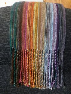Love the colors on this hand woven scarf.