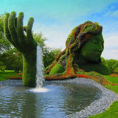 Topiary at Montreal Botanical Gardens will take your breath away. Where wild imagination and down right fantasia come to play. Montreal Botanical Garden, Botanical Gardens, Topiary Garden, Garden Art, Topiaries, Outdoor Topiary, Topiary Plants, Boxwood Topiary, Topiary Trees