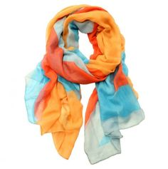 Product: ScarfConstruction Material: PolyesterColor: Orange, blue and beigeDimensions: x and Care: Hand wash cold Dope Fashion, Fashion Beauty, Fashion Outfits, Womens Fashion, Summer Scarves, Blue Scarves, Orange Scarf, Girly Things, Girly Stuff