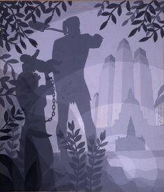 """""""The Founding of Chicago"""" by Aaron Douglas Acquired by Spencer Museum of Art African American Artist, American Artists, African Art, Black Panthers, Art Cart, Harlem Renaissance, Black Artists, Art Moderne, Figure Painting"""