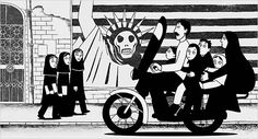 Persepolis (2007) directed by Marjane Satrapi and Vincent Paronnaud, based on the graphic novel created by Marjane Satrapi.