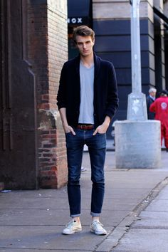 Truffol.com | Steal his style. #rolledupjeans #cardigan #casualtee #Converse #Chucks #urbanman