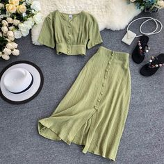 MUMUZI Fashion women outfits 2019 short design front buttons tops and long skirt set solid color side open skirt and blouse 🌿 ✨ . Girls Fashion Clothes, Teen Fashion Outfits, Mode Outfits, Look Fashion, Korean Fashion, Fashion Dresses, Fashion Women, Long Skirt Fashion, Long Skirt Outfits