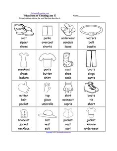 √ Winter Clothes Worksheets for Preschool . 5 Winter Clothes Worksheets for Preschool . Clothes at Enchantedlearning Learning English For Kids, Kids English, English Class, English Lessons, Teaching English, Learn English, Primary Teaching, English Resources, English Activities