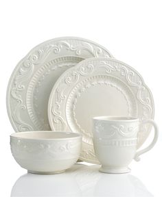 Fitz and Floyd Dinnerware, Ricamo White 4 Piece Place Setting - Casual Dinnerware - Dining & Entertaining - Macy's