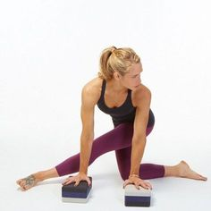 Twisted lunge. Yoga pose for tight IT bands and hamstrings. Use the blocks for extra comfort and ease. #ad #yoga #lunge #yogablocks #yogaprop