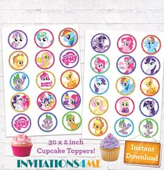 My Little Pony Cupcake Toppers MLP Glitter 2 inch Circles Birthday Party Stickers Decorations Printables INSTANT DOWNLOAD Digital File by INVITATIONS4ME on Etsy