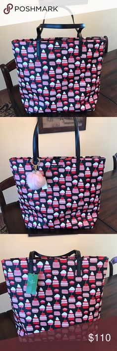 Kate Spade Take The Cake Mini Pastry Bon Shopper Kate Spade Take The Cake Mini Pastry Bon Shopper. NEW WITH TAGS!!  Selling this for a friend. This is a great Tote!  I'm thinking perfect size to have at my feet for a ride trip to hold iPad, headphones, snacks and those things I want near me. The pink or black Kate Spade fluff Pom key fob looks adorable on this bag. These are sold and listed separately. 🚫NO TRADES!  Only serious offers will be considered kate spade Bags Totes