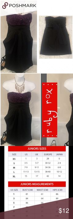 Strapless prom party cocktail dress juniors 3 Name brand Ruby Rox prom party formal dress.  Juniors size 3.  Excellent condition worn once to a formal event.  No rips, tears, stains, or discoloration and comes from a smoke free home.  Buy with confidence I am a top rated seller, mentor, and fas shipper.  Don't forget to bundle and save 15%.  Measurement length of dress is approx. 25 inches.  More measurements in pics from authentic Ruby Rox clothing chart.  Thank you. Ruby Rox Dresses…