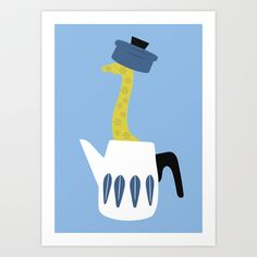 The Giraffe and the pot Art Print by The Bearded Bird. - $14.00