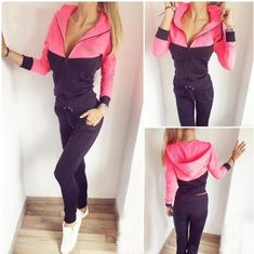 Bright pink and black set , zip and hoodie top Survetement Femme, Femmes,  Vêtements 37f17dd68e05