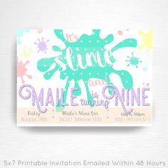 Slime Birthday Party Printable Invitation YOU Print Pastel Rainbow Slime Foam Beads by printpopparty on Etsy