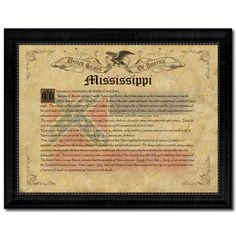 Mississippi Vintage History Flag Canvas Print, Picture Frame Gift Ideas Home Décor Wall Art Decoration