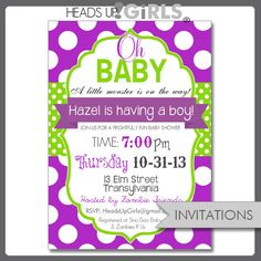 Set Of 12 Personalized Purple Lime Green Oh Baby Shower Invitations By Headsups