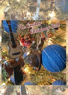 Cowboy Christmas Ornaments- guitar,saddles,cowboy hat,spurs and denim Christmas balls make for a festive tree Western Christmas, Christmas Store, Primitive Christmas, Christmas Balls, Christmas Ornaments, Primitive Fall, Christmas Decorations, Holiday Decor, Wool Applique