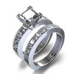 2 1/10 ctw Princess Cut Diamond Wedding Set in 14K White Gold...kinda different