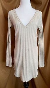 Free People Beige Tunic Sweatet Size Medium Retail $68 | eBay