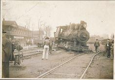 Fun Friday Photo - Men around derailed steam engine 3702 in Thayer, Missouri. NEARA, Mammoth Spring Collection