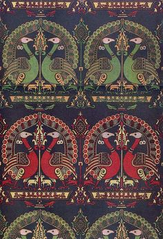 closely linked in style to Islamic textiles from Sicily. Textile Patterns, Textile Design, Textile Art, Fabric Design, Print Patterns, Art Chinois, Art Japonais, Weaving Textiles, Vintage Textiles