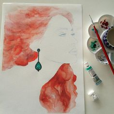 Emerald, black diamonds and Red Hair #redhair #emerald #blackdiamond #jewelry #jewelryrendering #jewelrydesign #design #drawing #rendering #illustration #fashionillustration #details #jewelrydrawing #technicaldrawing #delicates #painting #artwork #art  #gem #jewelryillustration #colormixing #watercolor #painting  #WinsorandNewton #draw #style #fashion #art #schminke #carandache