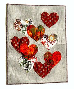 red heart wall textile art, art to frame, love heart wall art, red heart soft art, red hearts home decor, gift for couple  Decorative fiber art for your home. Made out of cotton and linen. Reverse applique, quilted. Ready to frame. 24 x 31 cm (9.5 x 12)  Unique and original idea for a gift for your friend, family or... yourself.  More from me: http://www.etsy.com/shop/BozenaWojtaszek