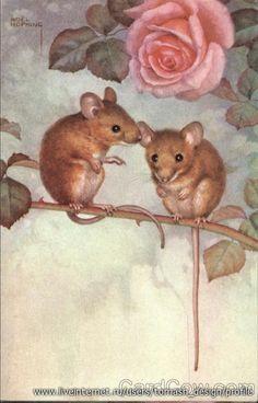 Мышки на старинных открытках. Обсуждение на LiveInternet - Российский Сервис Онлайн-Дневников