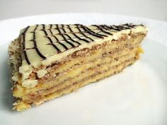 The origin of Esterhazy torta is not really identifiable, this is the reason why so many versions circulate in the different recipe collections. This Hungarian cake was invented in the century by unknown confectioner(s). Croatian Recipes, Hungarian Recipes, Hungarian Cake, Hungarian Food, Eastern European Recipes, Hungarian Cuisine, World Recipes, Different Recipes, Recipe Collection