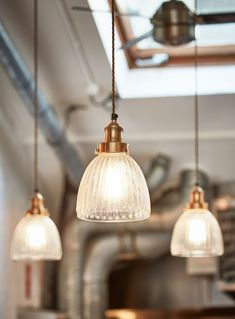 This eye-catching Brooklyn Vintage Antique Ribbed Glass Retro Cone Pendant by Industville evokes early century industrial lighting. Perfect for adding a cool industrial look to your hotel, bar, home or restaurant. Glass Pendant Light, Recessed Lighting, Glass Bulbs, Lights, Bar Lighting, Simple Lighting, Pendant Lighting, Vintage Lighting, Glass Lighting
