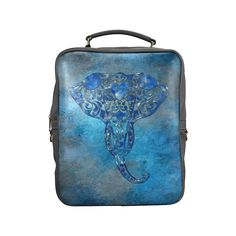 A blue watercolor elephant portrait in denim look Square Backpack (Model1618)