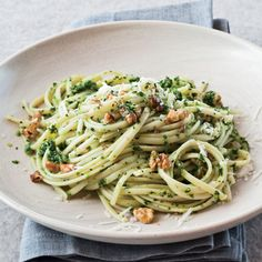 Linguine with Broccoli Rabe-Walnut Pesto // More Quick Pastas: http://www.foodandwine.com/slideshows/quick-pastas #foodandwine
