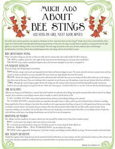Here's a little PSA on bee stings! It includes some good home remedies as well.