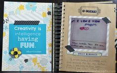 Create a Craft Journal and be inspired by YOU!  Using a Brag Book and the Park Bench collection by Fancy Pants Designs.