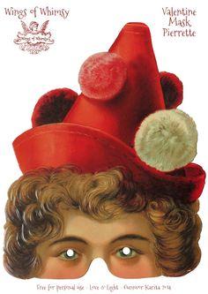 Wings of Whimsy: Valentine Love Circus - Pierrot & Pierrette Printable Masks - free for personal use #vintage #ephemera #freebie