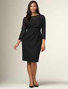 "Illusion crepe dress  new      $199.00  A sheer georgette bodice with an attached camisole updates this mock two-piece dress for evening. Side seam pockets. Side zip. Back jewel-button keyhole and vent. Length from waist: M23""; P21""; W25"". Fully lined. Wool/polyester. Dry clean. Imported."