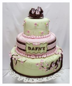 Green, Pink and Brown Stripe & Floral Cherry Blossom Family Owl Cake (Dafny) - minus the owls