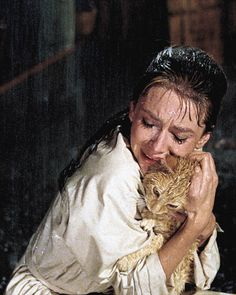 Audrey Hepburn. Crying / wet / hugging. And a cat. Breakfast at Tiffany's. '61.