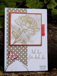Stamp' Up! ... hand crafted  card from Barbara's creative studio ... gold embossed flower from You've Got This ...