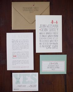Aqua and coral details - Big Day Invitations from Hello Lucky