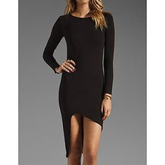 Vrouwen shirt met lange mouwen Zwarte Asymmetrische mini-jurk – EUR € 21.55