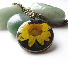 Sweet celandine real flower necklace By Kaye Jackson   | Picked from Picklist.me |  Joys to Come