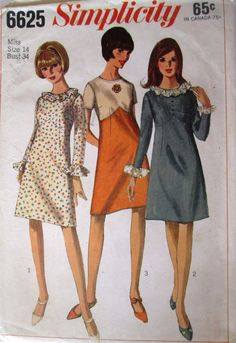 Simplicity 6625 Women's 60s A-Line One Piece Dress Sewing Pattern Bust 34