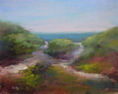 Steps Beach, Nantucket Island Original pastel painting by Karen Margulis Pastel Landscape, Landscape Paintings, Landscapes, Impressionist Paintings, 50 Days Of Summer, Paintings I Love, Pastel Paintings, Nantucket Island, Purple Trees