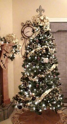 A Beautifully Decorated New Orleans Saints Christmas Tree Gold Xmas