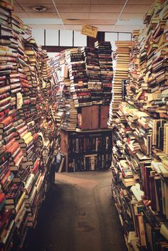 I love the smell of old book stores.//looks like you could be injured in this book store.