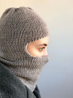 Knitted Balaclava, Knitted Hats, Full Face Mask, Handmade Products, Pure Products, Hand Knitting, Skiing, Hand Weaving, Winter Hats