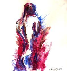 Nude,  quick watercolour, 135 x 135